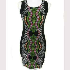Xhilaration Dress Size L/G Black Multi Color Inset